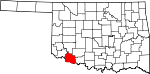 Map of Oklahoma showing Tillman County - Click on map for a greater detail.