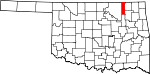 Map of Oklahoma showing Washington County - Click on map for a greater detail.
