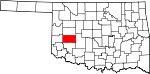 Map of Oklahoma showing Washita County - Click on map for a greater detail.