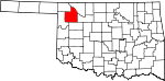 Map of Oklahoma showing Woodward County - Click on map for a greater detail.