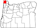 Map of Oregon showing Clatsop County - Click on map for a greater detail.
