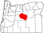 Map of Oregon showing Crook County - Click on map for a greater detail.