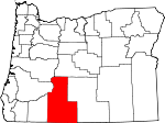 Map of Oregon showing Klamath County - Click on map for a greater detail.