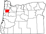 Map of Oregon showing Polk County - Click on map for a greater detail.