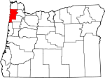Map of Oregon showing Tillamook County - Click on map for a greater detail.