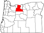 Map of Oregon showing Wasco County - Click on map for a greater detail.