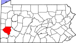 Map of Pennsylvania showing Allegheny County - Click on map for a greater detail.