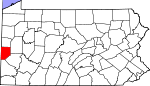 Map of Pennsylvania showing Beaver County - Click on map for a greater detail.