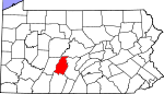 Map of Pennsylvania showing Blair County - Click on map for a greater detail.