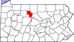 Map of Pennsylvania showing Cameron County - Click on map for a greater detail.