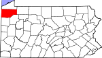 Map of Pennsylvania showing Crawford County - Click on map for a greater detail.