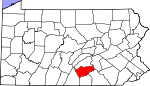 Map of Pennsylvania showing Cumberland County - Click on map for a greater detail.