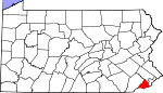 Map of Pennsylvania showing Delaware County - Click on map for a greater detail.