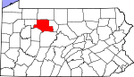Map of Pennsylvania showing Elk County - Click on map for a greater detail.