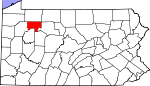 Map of Pennsylvania showing Forest County - Click on map for a greater detail.