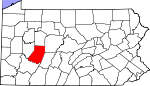 Map of Pennsylvania showing Indiana County - Click on map for a greater detail.