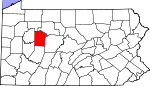 Map of Pennsylvania showing Jefferson County - Click on map for a greater detail.