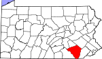 Map of Pennsylvania showing Lancaster County - Click on map for a greater detail.