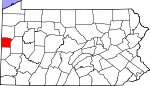 Map of Pennsylvania showing Lawrence County - Click on map for a greater detail.