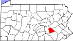 Map of Pennsylvania showing Lebanon County - Click on map for a greater detail.