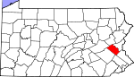 Map of Pennsylvania showing Lehigh County - Click on map for a greater detail.