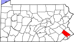 Map of Pennsylvania showing Montgomery County - Click on map for a greater detail.