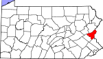 Map of Pennsylvania showing Northampton County - Click on map for a greater detail.
