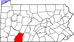 Map of Pennsylvania showing Somerset County - Click on map for a greater detail.