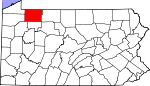 Map of Pennsylvania showing Warren County - Click on map for a greater detail.