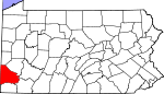 Map of Pennsylvania showing Washington County - Click on map for a greater detail.