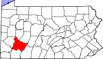 Map of Pennsylvania showing Westmoreland County - Click on map for a greater detail.