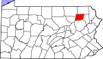 Map of Pennsylvania showing Wyoming County - Click on map for a greater detail.