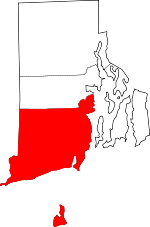 Map of Rhode Island showing Washington County - Click on map for a greater detail.