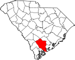 Map of South Carolina showing Colleton County - Click on map for a greater detail.