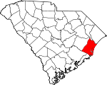 Map of South Carolina showing Georgetown County - Click on map for a greater detail.