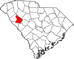 Map of South Carolina showing Greenwood County - Click on map for a greater detail.