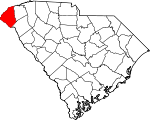 Map of South Carolina showing Oconee County - Click on map for a greater detail.