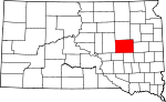 Map of South Dakota showing Beadle County - Click on map for a greater detail.