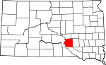 Map of South Dakota showing Brule County - Click on map for a greater detail.