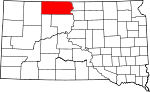 Map of South Dakota showing Corson County - Click on map for a greater detail.