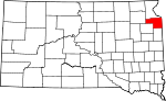 Map of South Dakota showing Grant County - Click on map for a greater detail.