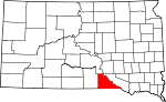 Map of South Dakota showing Gregory County - Click on map for a greater detail.