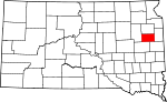 Map of South Dakota showing Hamlin County - Click on map for a greater detail.