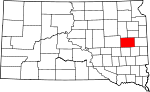 Map of South Dakota showing Kingsbury County - Click on map for a greater detail.