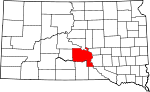 Map of South Dakota showing Lyman County - Click on map for a greater detail.
