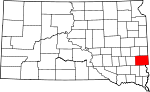Map of South Dakota showing Minnehaha County - Click on map for a greater detail.
