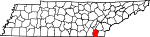 Map of Tennessee showing Bradley County - Click on map for a greater detail.