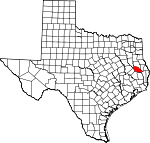 Map of Texas showing Angelina County - Click on map for a greater detail.