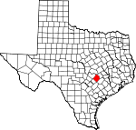 Map of Texas showing Bastrop County - Click on map for a greater detail.