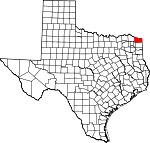 Map of Texas showing Bowie County - Click on map for a greater detail.